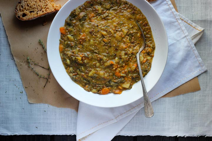 French lentil soup loaded with winter market vegetables. Leeks, fennel, carrots, potatoes and French De Puy lentils. Vegan.