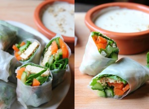 Crunchy Sesame Spring Rolls with Tahini Coconut Dip | happy hearted ktichen