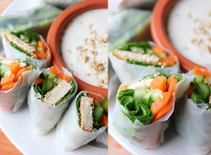 Crunchy Sesame Spring Rolls with Tahini Coconut Dip | happy hearted kitchen