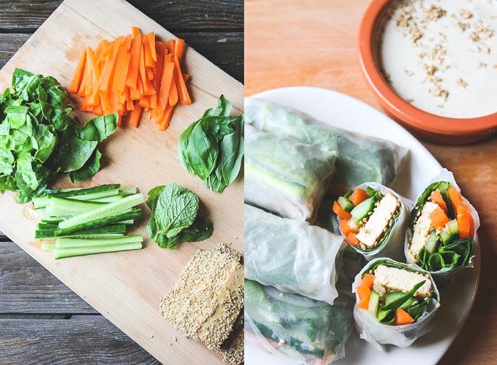 Easy vegan spring rolls with crunchy sesame tofu + tahini coconut dip. Makes 10 fresh and crunchy rolls. Vegan & Gluten Free.