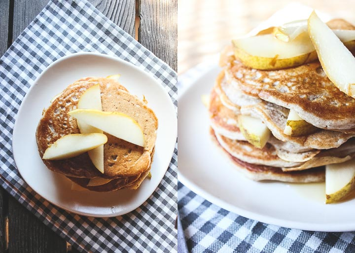 Easy vegan pancakes with fresh pear and whole grains. Serves 2. Makes 5-6 medium sized pancakes - serve with maple syrup and fresh pear slices!