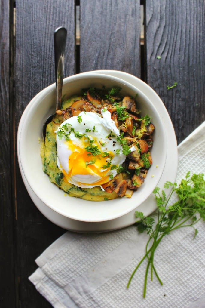 Poached Egg over Spinach Polenta with Crispy Mushrooms & Herbs | happy hearted kitchen