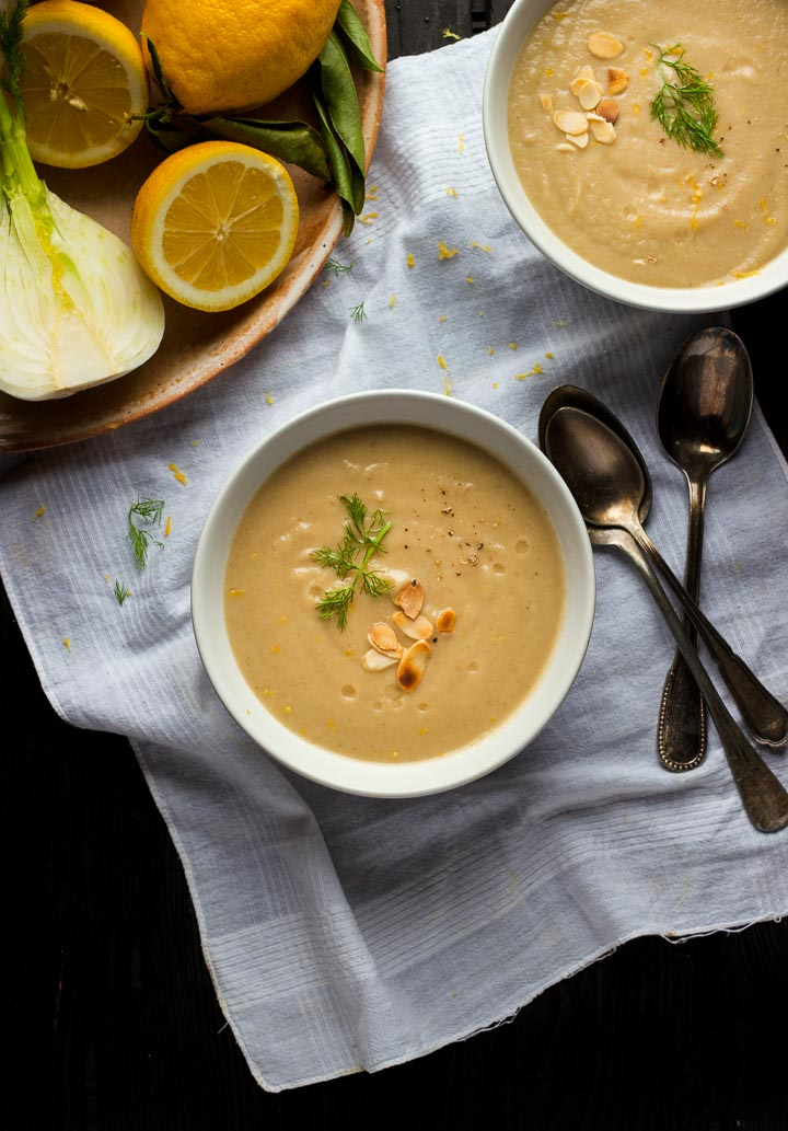 Jerusalem artichoke soup with fennel, toasted almonds and lemon. Let the flavor of sunchokes shine in this creamy vegan soup.
