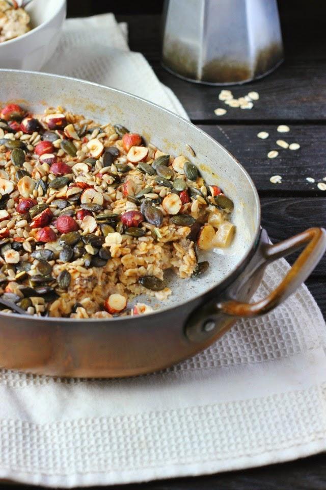 Crunchy Baked Rhubard Oatmeal with Homemade Hazelnut Milk   happy hearted kitchen
