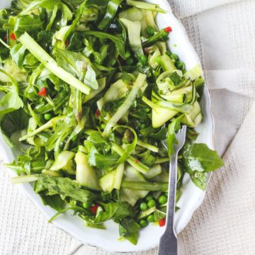 Shaved Asparagus Salad with Zucchini, Chili + Mint