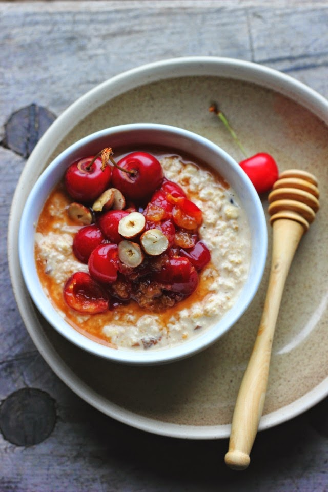Bircher muesli with prunes, apricots, cherries and hazelnuts. Sweetened with apple juice. Vegan and gluten free breakfast.