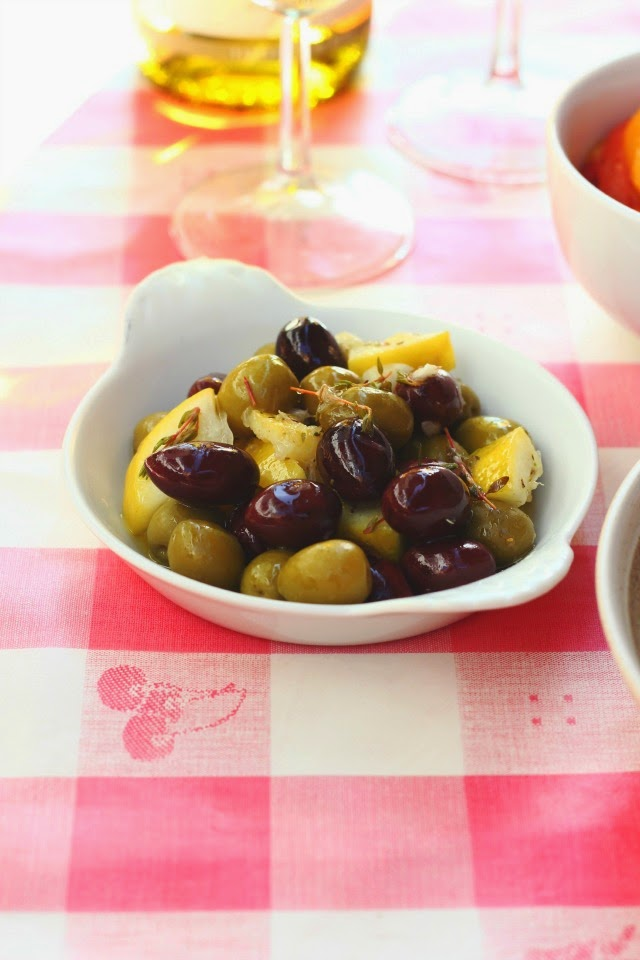 A Simple Summer Apéro: Lemon + Thyme Marinated Olives | happy hearted kitchen