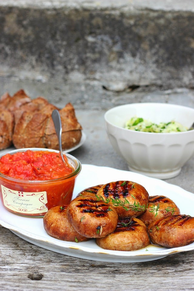 Thyme Grilled Mushroom Burgers with Fennel Slaw + Roasted Tomato Salsa   happy hearted kitchen