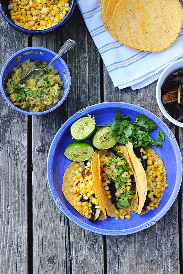 Cumin Grilled Portobello + Charred Corn Tacos with Spicy Green Tomato Salsa Verde ⎮ happy hearted kitchen