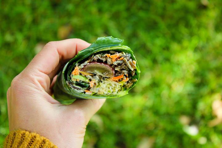 Collard Wraps with Wild Rice Salad + Orange Miso Tahini Dressing ⎮ happy hearted kitchen
