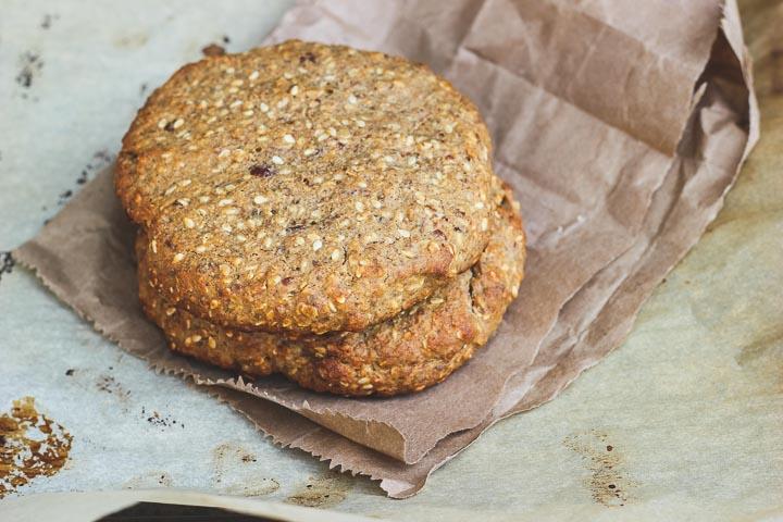 Vegan breakfast cookies with peanut butter, banana, dates + tahini. Vegan, gluten free + refined sugar free. Makes 4 breakfast worthy cookies.