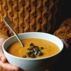 Roasted Carrot Soup with Parsnips, Apples + Gingery Toasted Pepitas