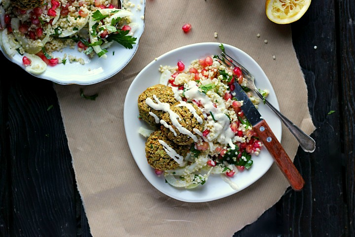 Crispy Baked Falafels with Winter Tabouleh, Tahini + Za'atar ⎮ happy hearted kitchen
