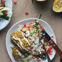 Crispy Baked Falafels with Winter Tabbouleh, Tahini + Za'atar