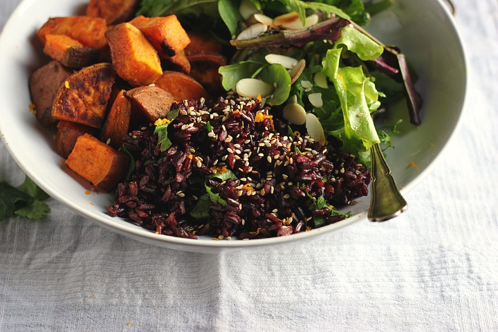 Roasted sweet potatoes with ras el hanout, cumin and chili. Fragrant black rice with orange, dates + sesame dressing. Vegan + Gluten free. Serves 4.