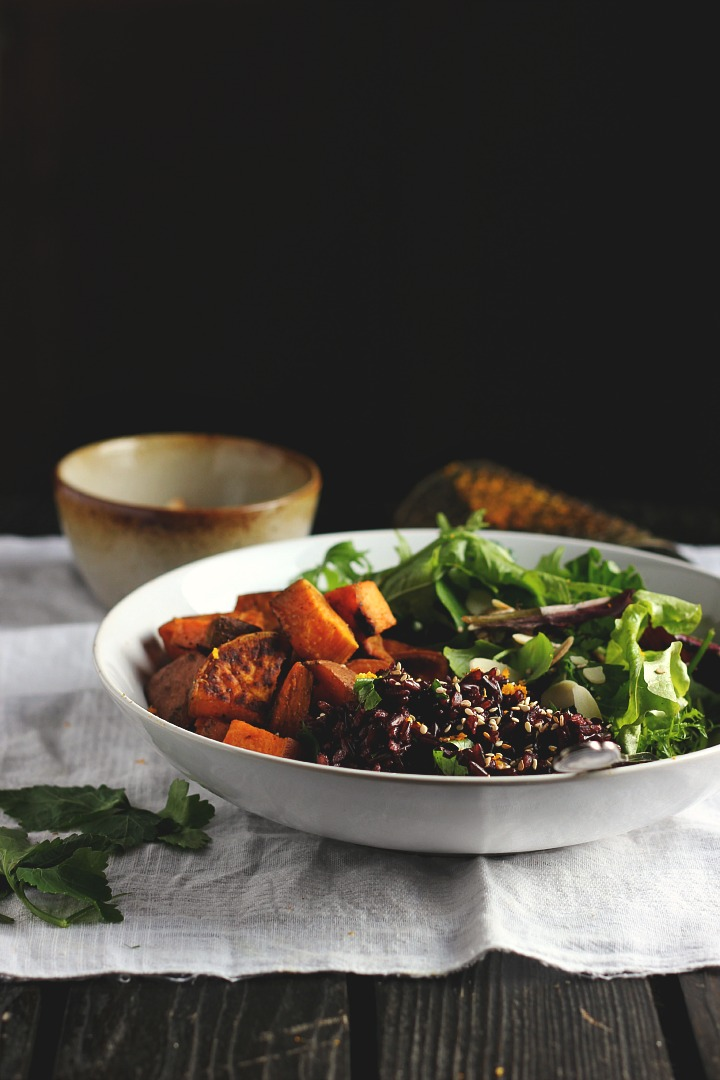 Spicy Roasted Sweet Potatoes With Fragrant Black Rice