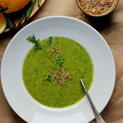 Lemony Kale + Potato Soup with Caraway Seed Dukkah