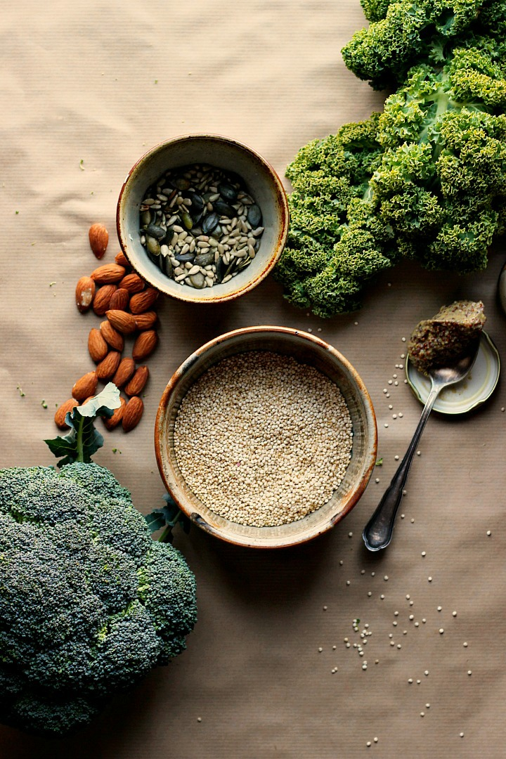Warm Kale, Quinoa + Broccoli Salad with Cider Mustard Dressing ⎮ happy hearted kitchen
