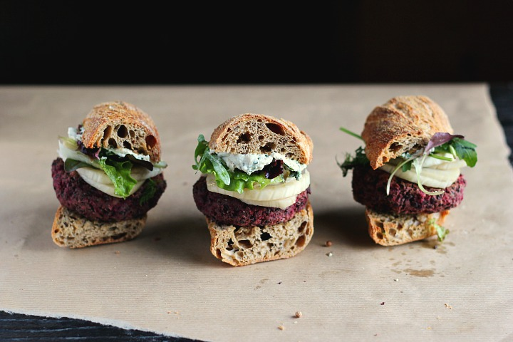 lentil, walnut and beet burgers with quick pickled fennel and sunflower seeds aioli. Vegan + Gluten Free. Serves 3-4.