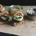 Lentil, Walnut + Beet Burgers with Quick Pickled Fennel + Sunflower Seed Aioli