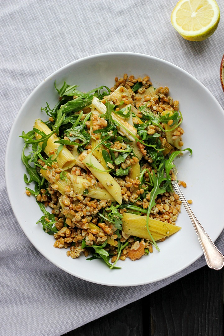 Slow Roasted Spring Leeks + Toasty Farro with Walnut Rocket Pesto ⎮ happy hearted kitchen