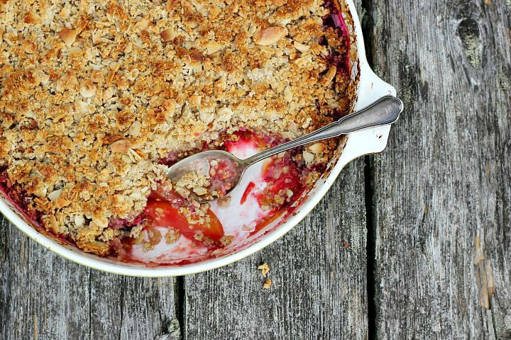 Ginger + Almond Mixed Plum Crumble ⎮ happy hearted kitchen