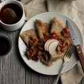 Maple Buckwheat Crepes with Spiced Apple + Chestnut Relish