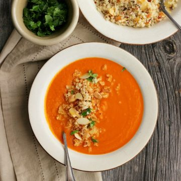 Spicy Moroccan Chickpea Soup with Orange Almond Quinoa