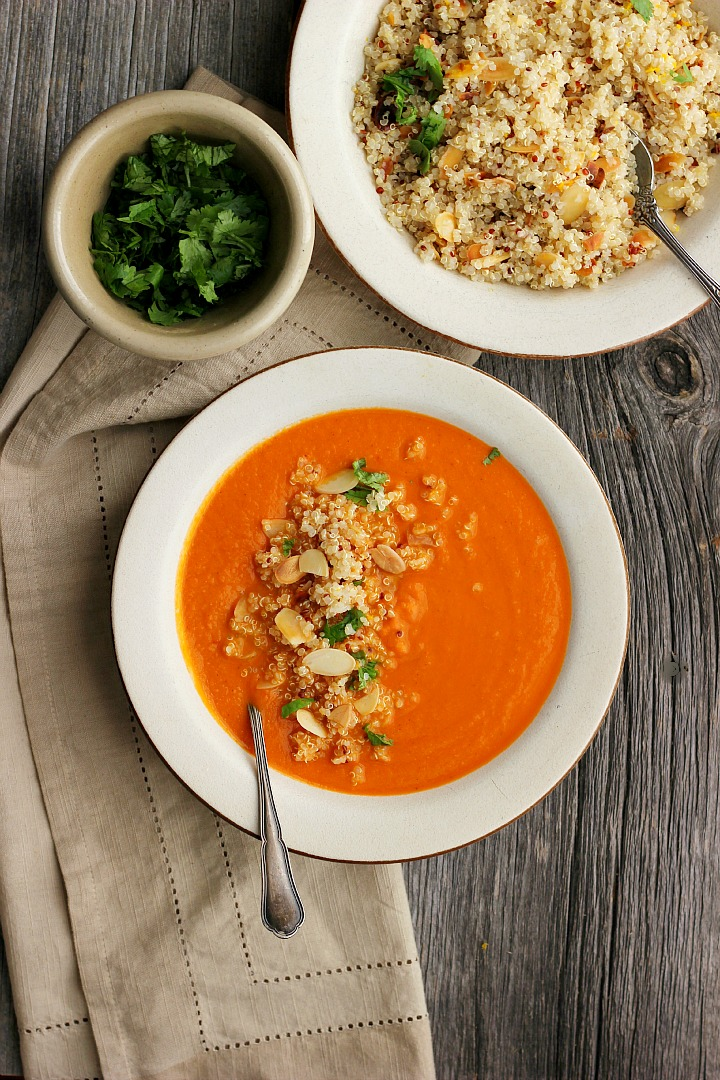 Spicy Moroccan Chickpea Soup with Orange + Almond Quinoa ⎮ happy hearted kitchen