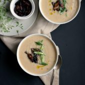 Cauliflower Soup with Parsnips, Miso and Tamari Roasted Shitakes