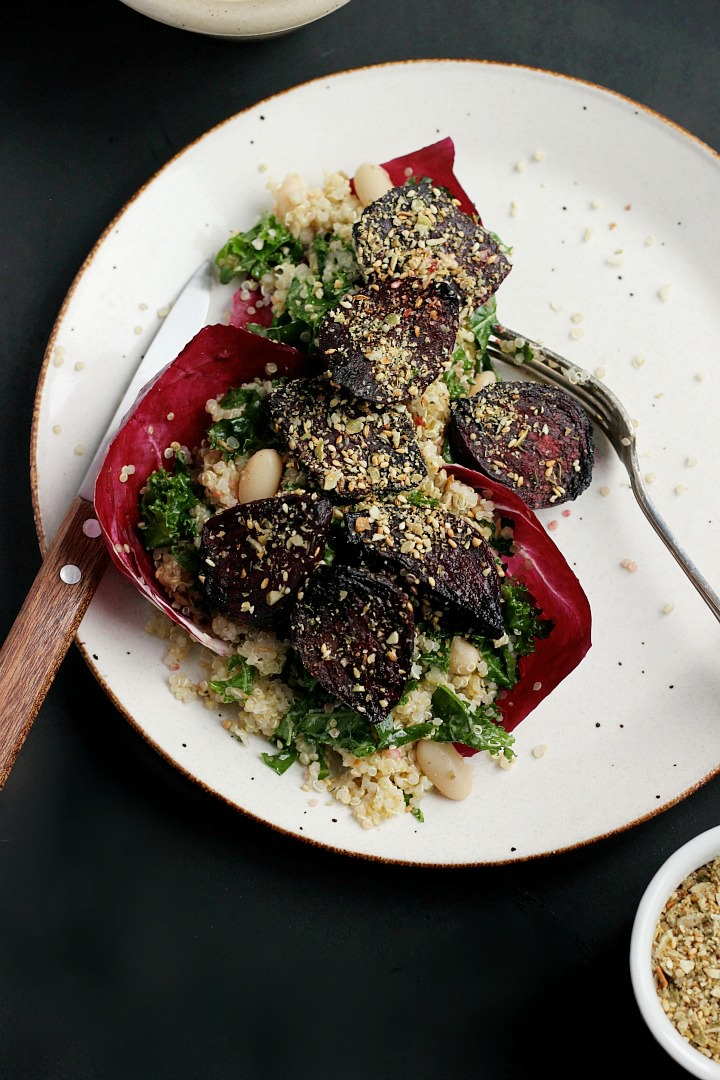 Roasted Beet Salad with Pumpkin Seed Dukkah and Creamy Lemon Garlic Dressing | happy hearted kitchen