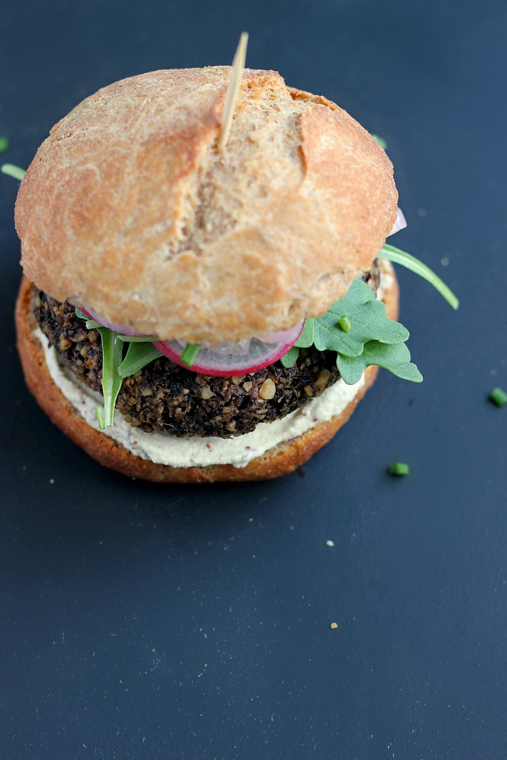 Lentil, Mushroom + Walnut Burgers with Quick Pickled Onions and Mustard Sunflower Seed Aioli ⎮ happy hearted kitchen