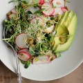 Avocado, Radish + Sprout Salad with Tangy Miso Dressing