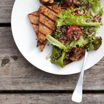 Balsamic + Tamari Glazed Tofu and Mushrooms