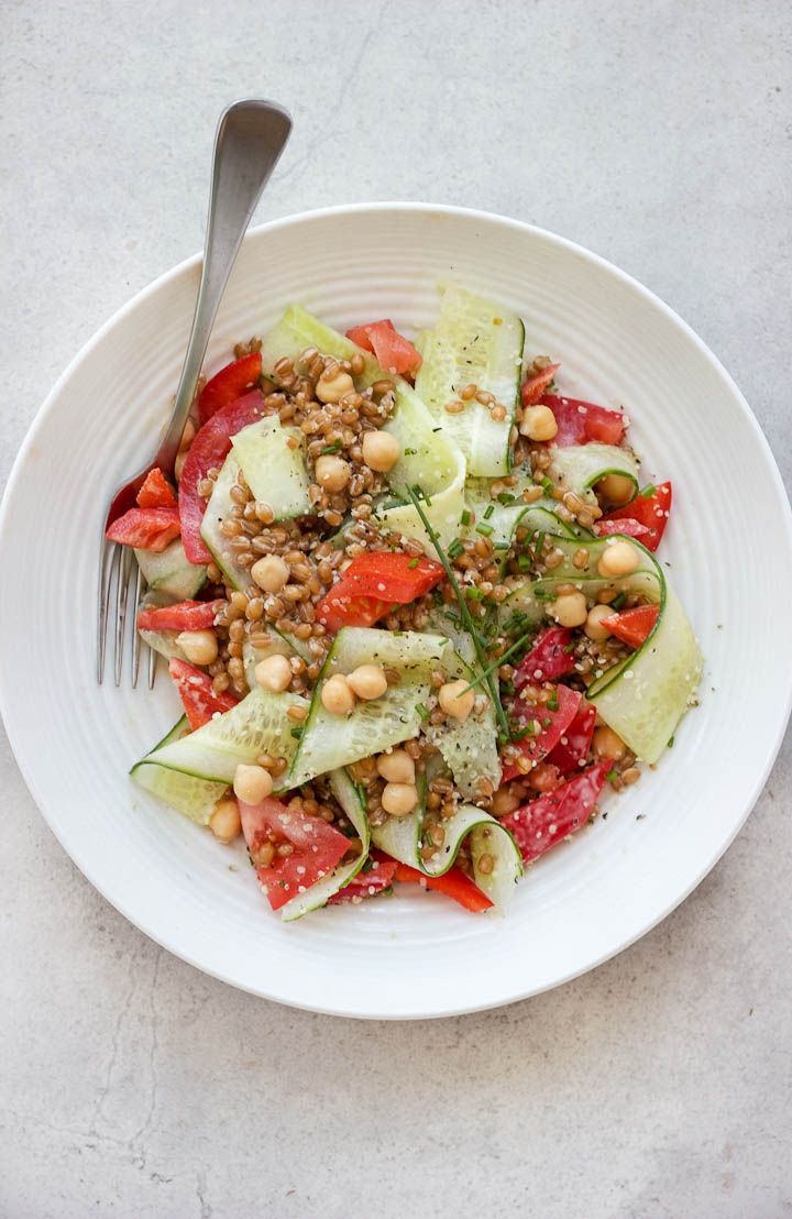 Summer Wheat Berry Salad with Everyday Dressing ⎮ happy hearted kitchen