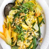 Green Bean, Sweet Corn + Summer Squash Salad with Basil Dressing