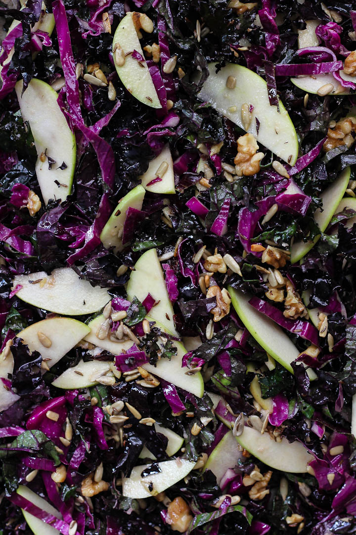 Kale, Apple + Red Cabbage Slaw with Cider Dijon Dressing and Caraway ⎮ happy hearted kitchen