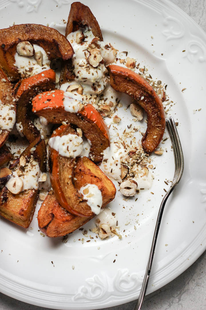 Cinnamon Roasted Pumpkin with Tahini Yogurt + Hazelnut Dukkah