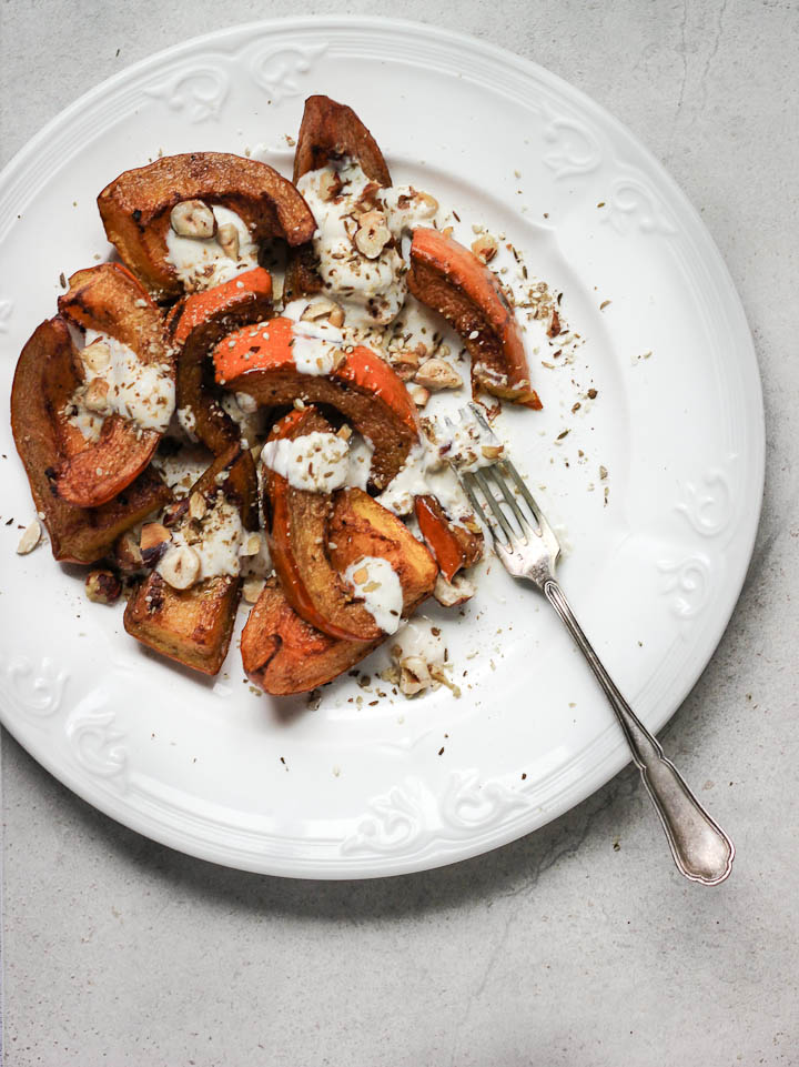 Cinnamon Roasted Pumpkin with Tahini Yogurt + Hazelnut Dukkah
