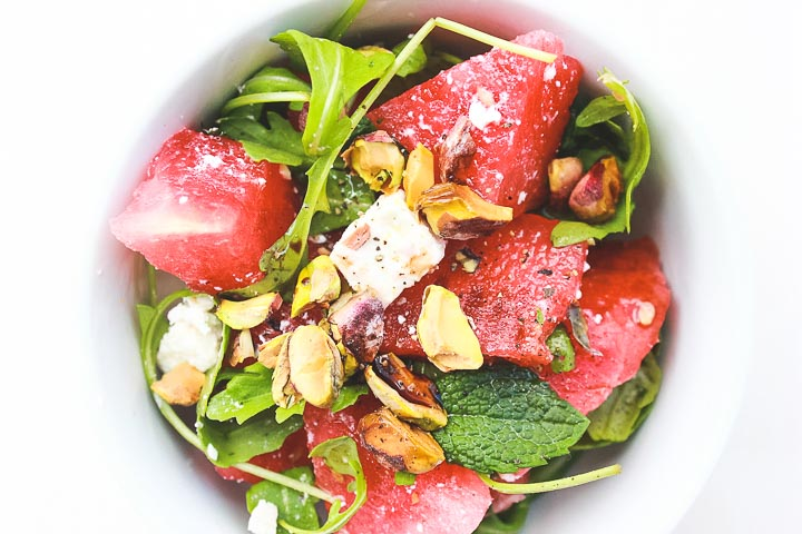 Watermelon feta salad with pistachios and mint. A simple and refreshing summer salad - these flavors are hard to beat!