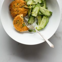 Moroccan Quinoa Patties with Cucumber, Yogurt and Mint