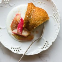 Olive Oil Yogurt Cake with Roasted Rhubarb