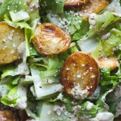 Roasted Potato Caesar Salad with Vegan Hemp Seed Dressing
