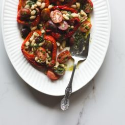 Stuffed Roasted Red Peppers with Cherry Tomatoes, Olives + White Beans