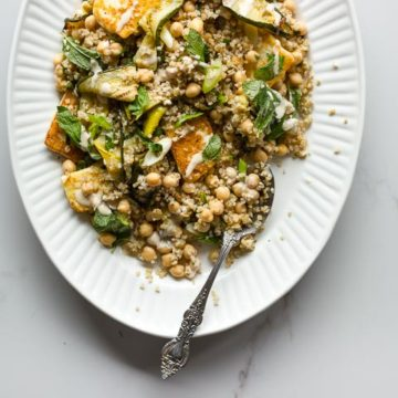 Grilled Zucchini Salad with Halloumi, Tahini + Mint