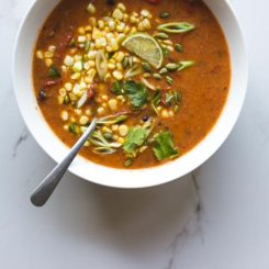 Smoky Roasted Tomato, Black Bean + Polenta Soup